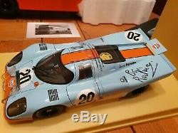 1/18 Schuco Mercedes GULF Porsche Transporter + 3 AUTOart 917K (2 Redman signed)