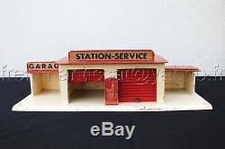 C790 Rare ancien GARAGE SHELL MAJOLU bois vehicule miniature station service