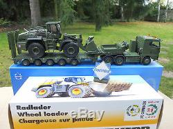 Conrad 1/50 Camion Militaire Man 6x4 + Semi-remorque + Liebherr L 576 Neuf