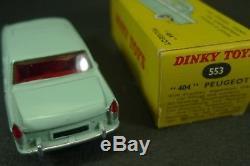 DINKY TOYS FRANCE. PEUGEOT 404. REF 553 + boite avec écriture inversée