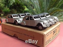 Dinky Toys Boite de 6 2cv Citroen Ref 24 T Doré métal Rare