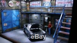 Diorama 1/18 atelier garage US ANCIEN BOIS 60's chrono LEDS scale 118 no car