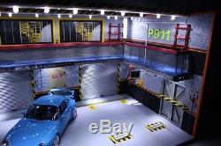 Diorama atelier garage PORSCHE 1/18 sans voiture no the car Eclairage LED P911