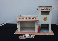 E028 Ancien grand GARAGE SHELL MAJOLU bois vehicule miniature station service
