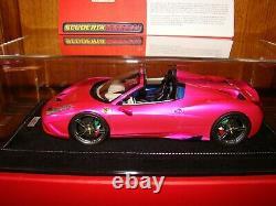 Ferrari 458 Speciale Aperta Mr Collection Pink Flash 1/18 Eme Superbe Rare