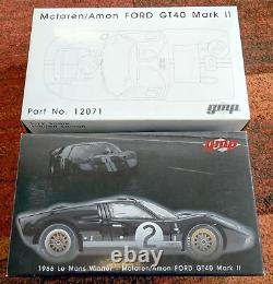 GMP 12071 1/12 1966 Ford GT 40 Mark II Amon Mclaren 24 heures le mans du
