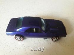 Hot Wheels Custom Camaro 1967 Mattel INC Redline Purple état nikel Rare TBE