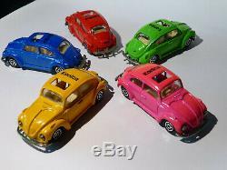 Lot de 5 coccinelle / cox / beetle KONICA réf 203 au 1/60 de Majorette Majopub