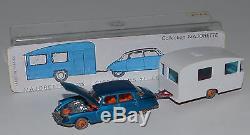 MAJORETTE RAIL ROUTE 215 Citroën DS 21 bleu métallisé + caravane en boîte
