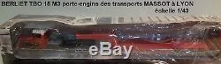 N° 74 BERLIET TBO 15 M 3 Camion Semi Remorque Porte engins MASSOT LYON (69) 1/43