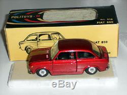 POLITOYS-M #513 1965 FIAT 850 BERLINA MINT BOXED RARA ROSSA INTERNO NERO