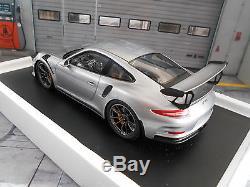 PORSCHE 911 991 GT3 RS 2015 silber schwarz NEU NEW Resin Spark 118