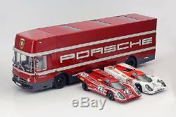 Porsche courses transporteur ensemble avec 2x Porsche 917K 118 Schuco / Norev