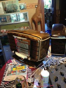 VINTAGE RADIO SNR 52 ETAT EXCEPTIONNEL PEAU LEZARD MARRON envoi monde entier